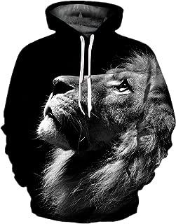 Samefar Womens Men Realistic 3D Digital Print Pullover Hoodie Hooded Sweatshirt