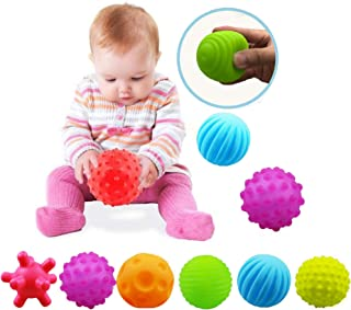 Sensory Balls For Baby Massage Stress Relief, Textured Multi Baby Balls Gift Sets,Water Bath Toys, 6 Spikey Sensory Squeez...