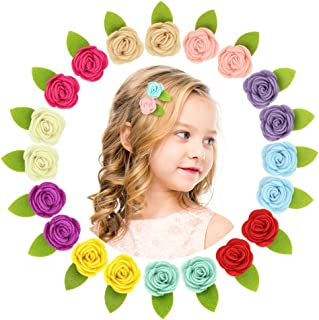 QtGirl Mini Felt Hair Clips Felt Flower Hair Accessories Non Slip Barrettes for Baby Girls Toddlers Kid Party Favor In Pairs 20Pcs