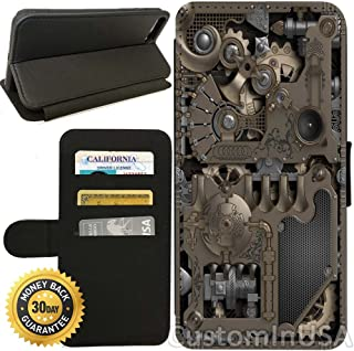 Flip Wallet Case for iPhone 7 (Steampunk Mechanical Gears) with Adjustable Stand and 3 Card Holders | Shock Protection | Lightweight | by Innosub