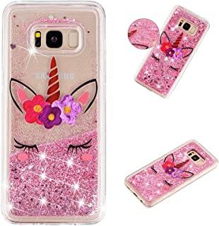 MEIKONST Galaxy S8 case, Clear Soft TPU Pink Unicorn Stylish Design with Hearts Glitter Bling Quicksand Shiny Flowing Liqu...