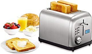 TILON 2 Slice Kitchen Stainless Steel Toaster with Bagel Defrost and 6 Shade Settings Extra Wide Slot/Removable Crumb Tray/Blue LCD Timer Display