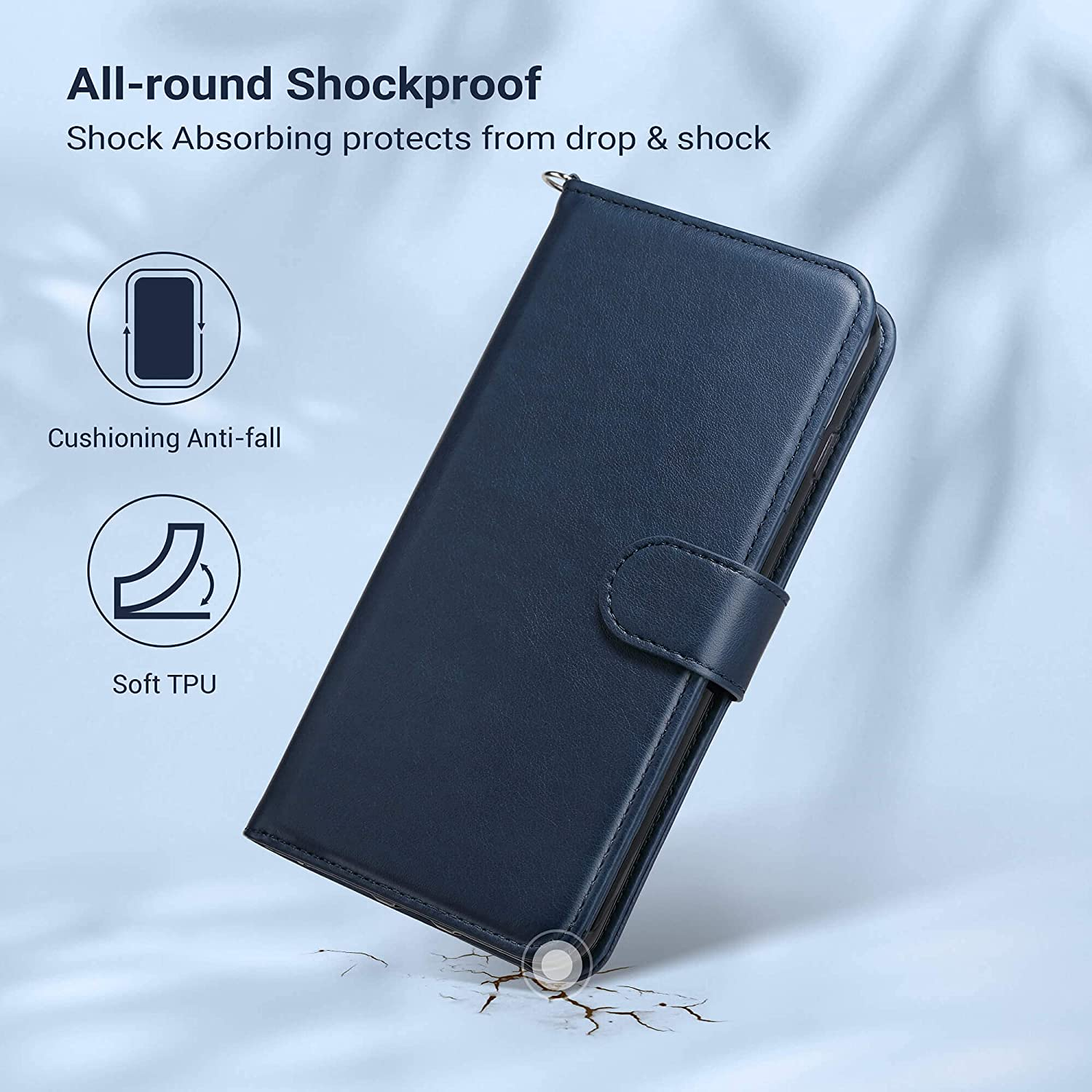 ULAK iPhone 8 Plus Case, iPhone 7 Plus Case, Premium PU Leather Wallet Case with Card Holders Kickstand Hand Strap Shockproof Protective Cover for iPhone 7 Plus/8 Plus 5.5 Inch (Blue)
