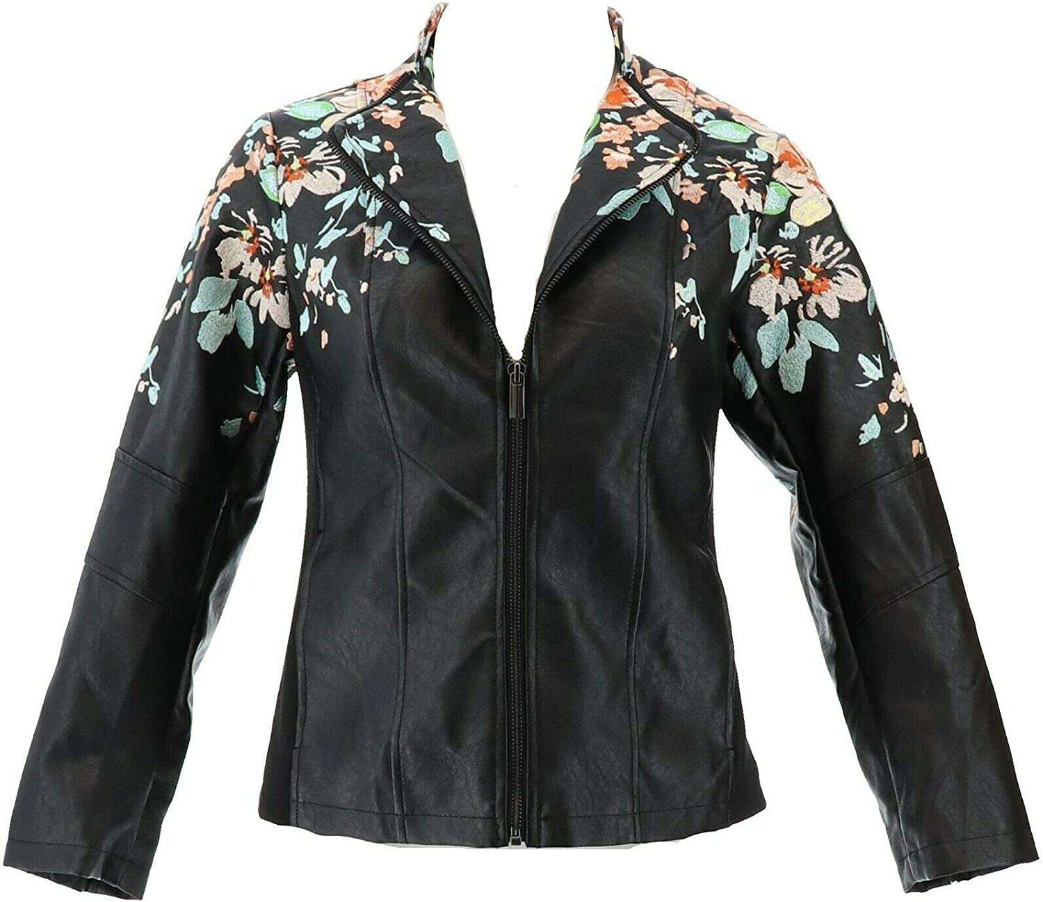 Colleen Lopez Embroidered Faux Leather Jacket 638-980