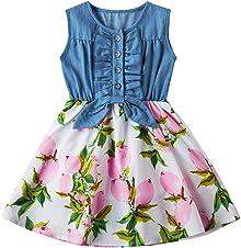AIDEAONE Girls Dress Denim Tops Stitching Skirt Sleeveless Summer Floral Print Dress 2-9 Years