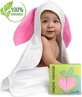 Premium Baby Hooded Towel w/Bunny Crinkle Ears - Extra Soft & Luxury Large Organic Bamboo Bath Towel for Boys or Girls - Newborn, Infant, Toddler - Hypoallergenic, Super Absorbent — Baby Shower Gift
