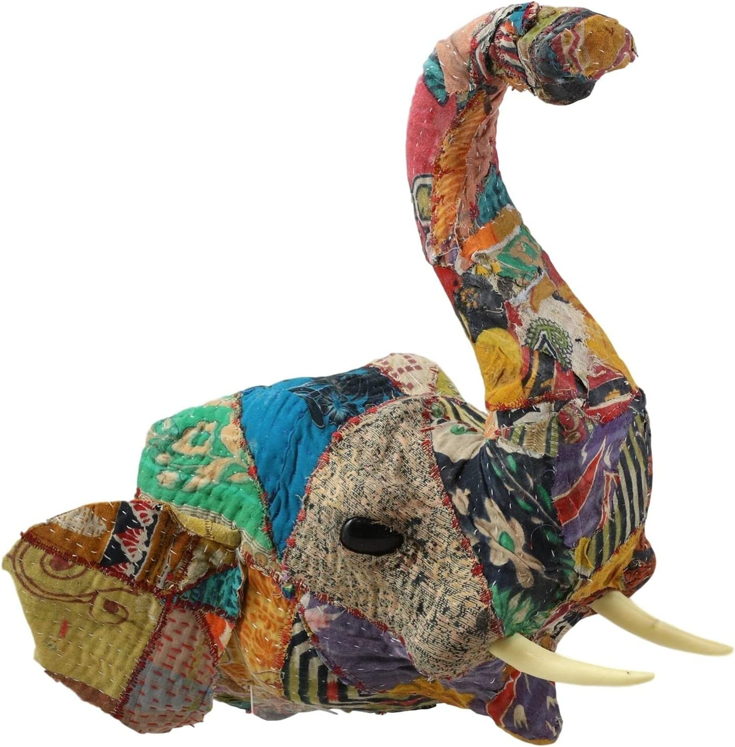 Elephant with Trunk Up Hand Crafted Head Fabric in store De Memphis Mall Sari Mache
