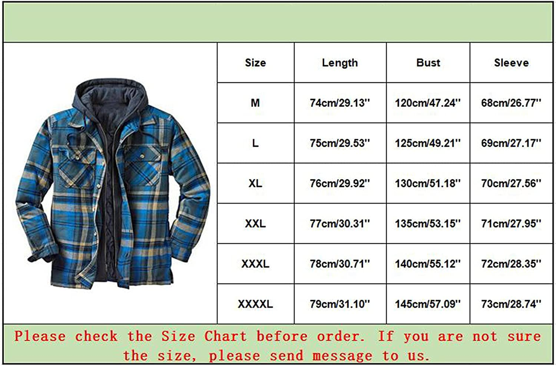 Men's Heavyweight Button Down Plaid Hooded Jackets Flannel Lined Sherpa Long Sleeve Outwear Autumn Winter Warm Coat