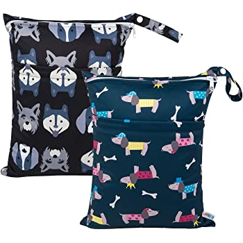 Style B J Robin Baby Waterproof Zipper Bag Washable Reusable Baby Nappy Bag Wet and Dry/Cloth Diaper Cute Pattern One Zipper