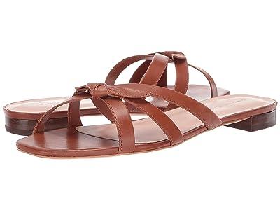 Loeffler Randall Eveline Delicate Strap Flat Sandal (Cognac Vachetta) Women