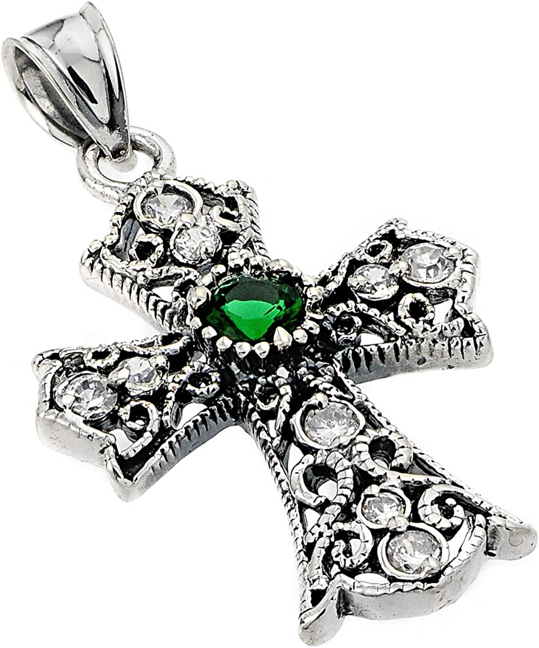 Art Deco Celtic Cross with White and Green CZ Pendant