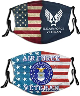 2PCS United States Marine Corps Face Cover with 4 Fi-Lter USMC Face Bandana Balaclava Reusable Neck Gaiter for Mens Womens