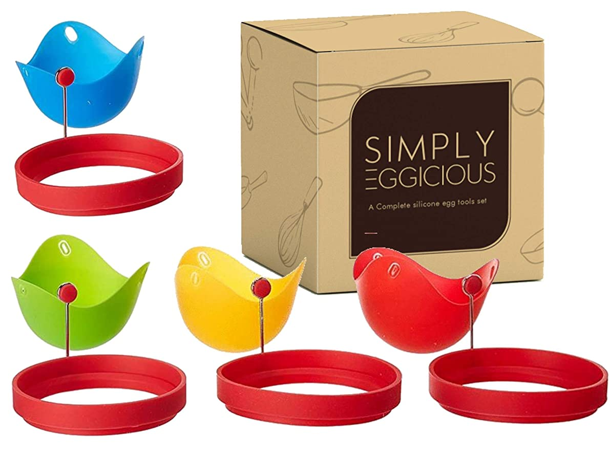 Egg Poacher & Egg Ring - Silicone Poachers Cookware, Non-Stick, BPA Free, Microwave Safe Poaching Cups, Silicone Egg Cooker, Poached Egg Maker, Round or Circle Rings
