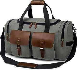 TAK Vintage Reisetasche Weekender Duffle Bag Wochenend Tasche Handgepäck Weekend Tasche Umhängetasche aus Canvas Leder mit Schuhfach, für Herren Damen lässigen Reisen Gym Urlaub, 40L,Dunkelgrün