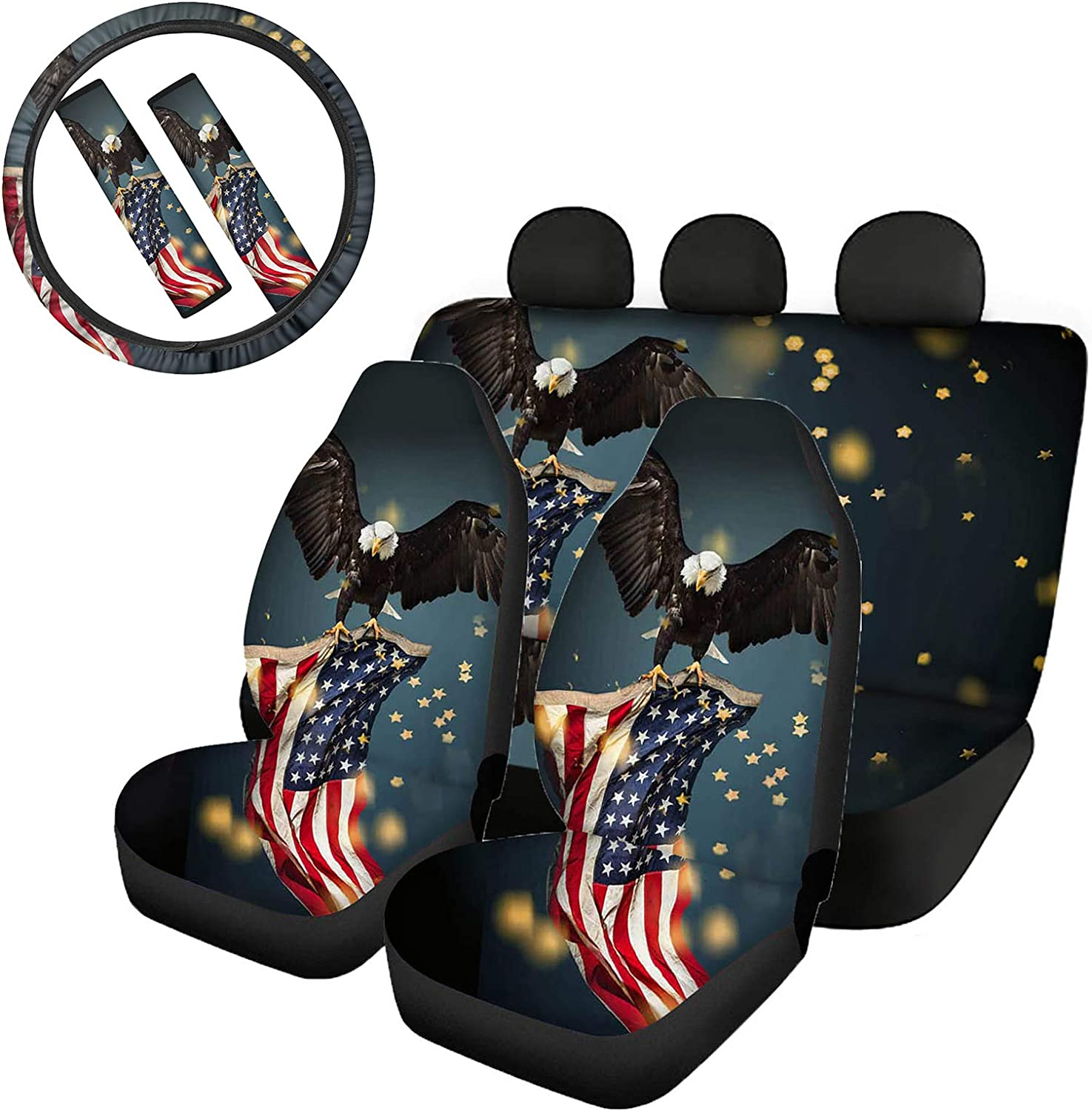 GePrint Breathable Classic Front and Rear Seat Covers Protector for Women Men,American Flag Eagle Pattern Seat Cushion with Steering Wheel Cover Seatbelt Clip Covers Universal Fit Trucks Van 7 in1