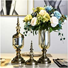 Flower Bottle Champagne with Cover Floral Arrangement Glass Vase Home Wedding Decoration Set (1 Set 2 Pieces)
