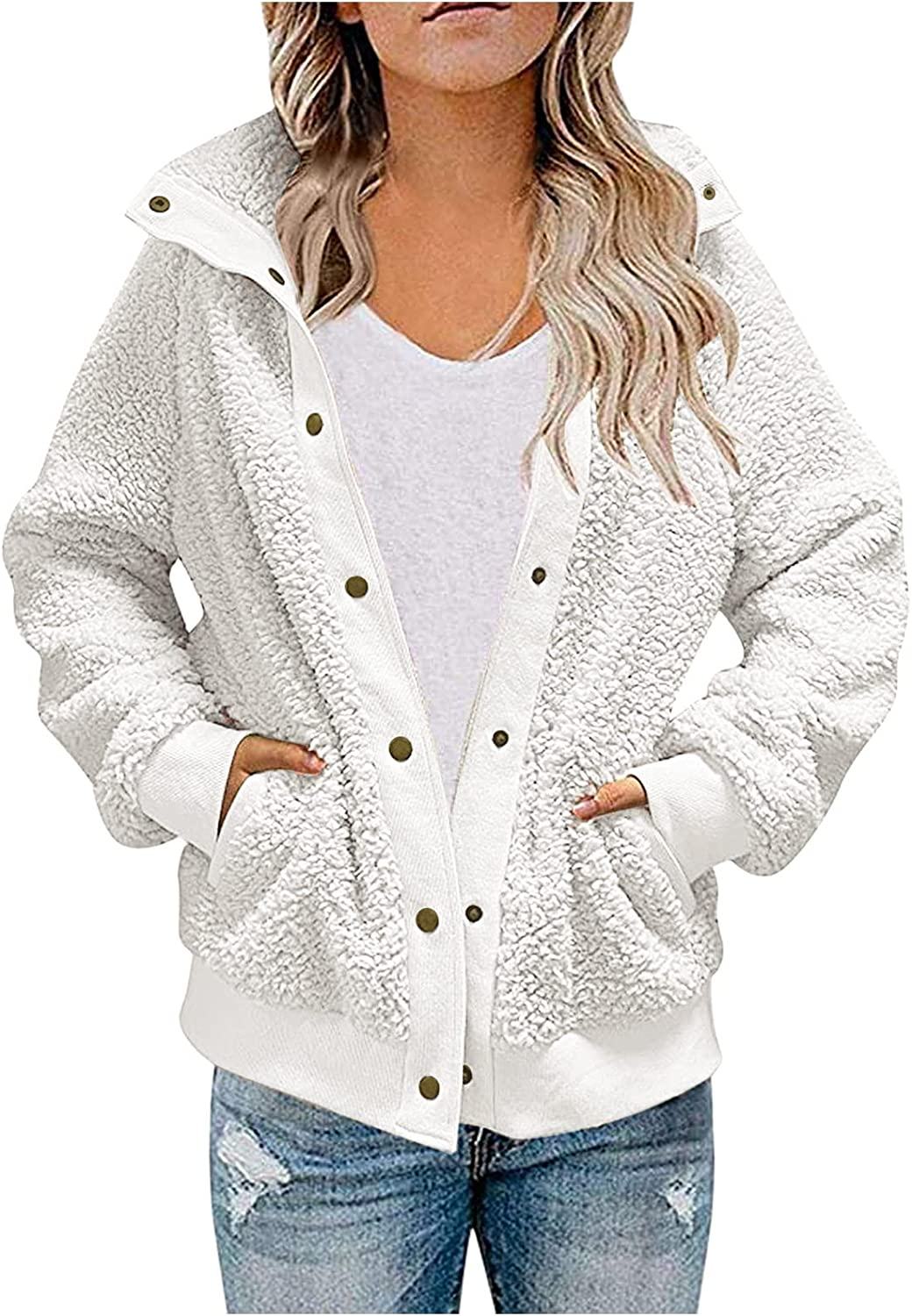 977 Womens Casual Warm Faux Fuzzy Pockets Coat Jacket Winter Loose Fit Button Solid Long Sleeve Outerwear Hoodie