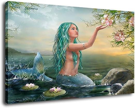 "12/""x20/""Mermaid Girl on Beach Painting Print on Canvas Home Decor Wall Art poster"