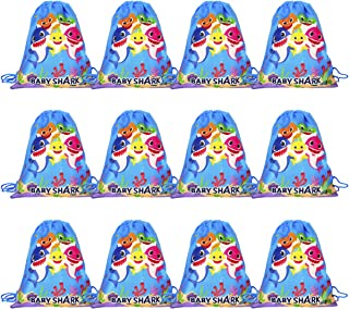 YoungZee Cute Baby Shark Drawstring Bags | Party Favors Bag, Cartoon Gift Bags Birthday Goodie Bags, Party Supplies Favors for Kids Boys Girls, Cinch Sack String Storage Backpack - 12 Pack
