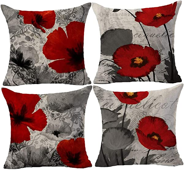 Set Of 4 Plant Beautiful Poppy Gray Background Cotton Linen Throw Pillowcase Couch Pillow Cover Square 18x18 Inch Decorative Pillow For Family Birthday