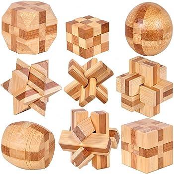 Holzsammlung 9 Pièces 3D IQ Puzzle Esprit Test Casse-tête en Bois Jouet Jeu educatif Enfant Adulte #23