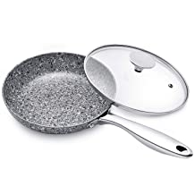 MICHELANGELO Granite Frying Pan with Lid, Ultra Nonstick 8 Inch Frying Pan with Stone Interior, Stone Frying Pan, Small Frying Pan Nonstick, 8 Inch Skillet with Lid - Grey Granite