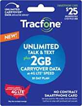 New Tracfone $25 Unlimited Talk, Text, 2GB Data - 30 Day Smartphone Plan