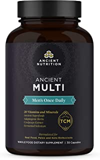 Ancient Multi Men's Once Daily - Multi Vitamin & Immune Support, Adaptogenic Herbs, Paleo & Keto Friendly, 30 Capsules