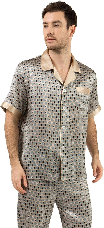 FMOGG Men Pjs Pajama Set Silk Loungewear Nightwear Sleepwear Summer Cool Thin Short-Sleeved Top & Bottoms Outfits,100% Mulberry Silk Pajamas