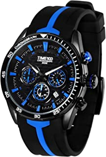 Time100 Men's Silicone Strap Chronograph Watch Sample Fashion Multifunction Calendar Watches for Men/Boy