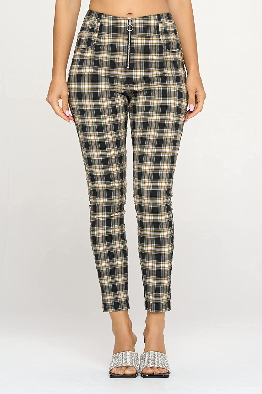 Women's Pants Casual High Waist Skinny Fit Stretchy Work Plaid Print Pants