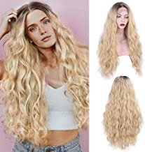 Stamped Glorious Lace Front Blonde Wig Long Wavy Blonde Wig for Women Curly Blonde Hair Full Wig Synthetic Wigs 26 Inch