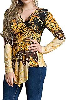 Women's Plus Size Print V Neck Irregular Long Sleeve Comfy Top Blouse T Shirts As Picture US-2XL