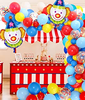 Jollyboom Kit de Arco de Guirnalda de Decoraciones de Fiesta de Circo con Globos de Circo Globos de látex Azul Amarillo Rojo para Tema de Carnaval Cumpleaños Baby Shower