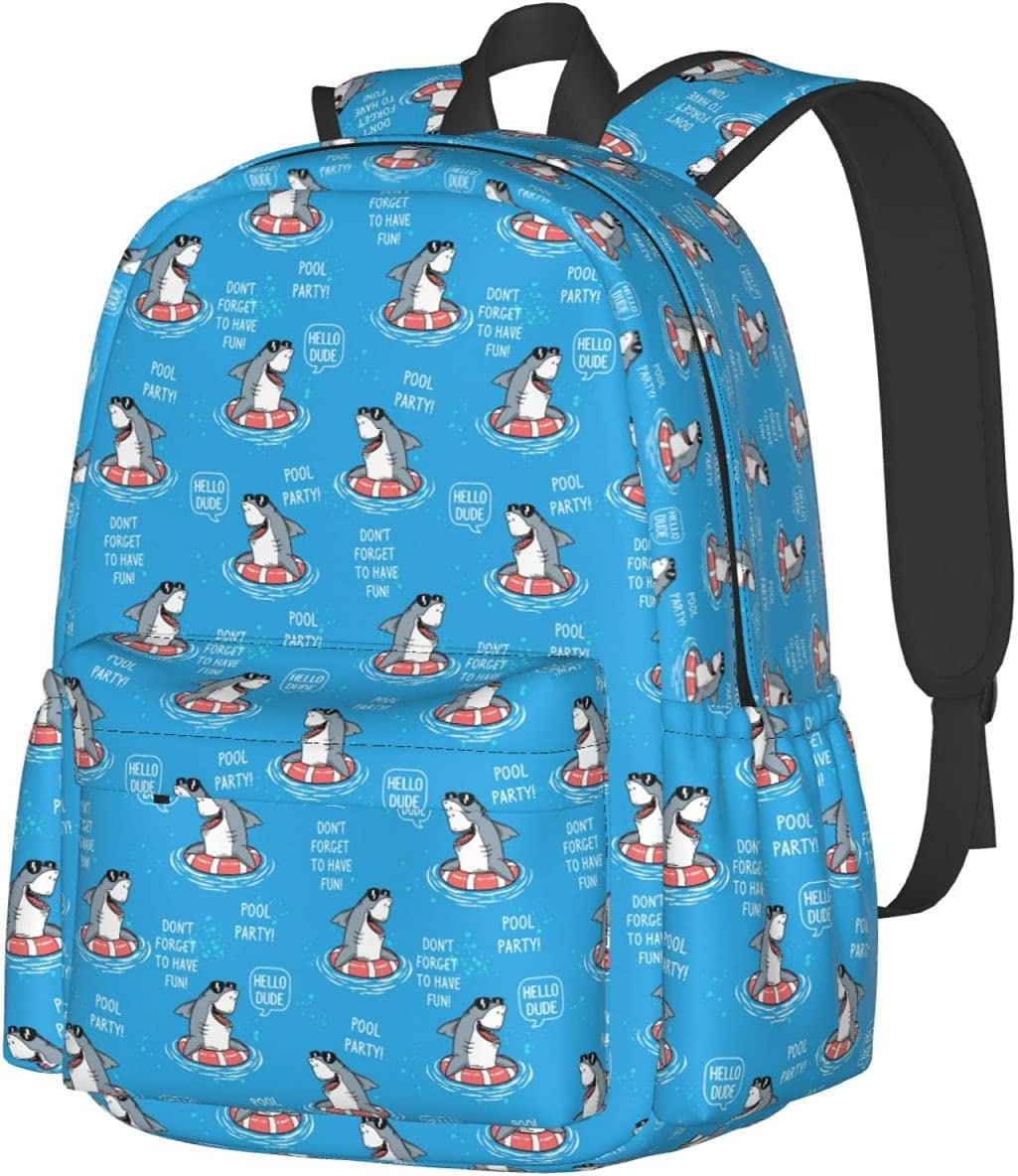 Funny Sharks Swimming 5 ☆ very popular Blue sale Pool School Ba Backpack Fashion Party