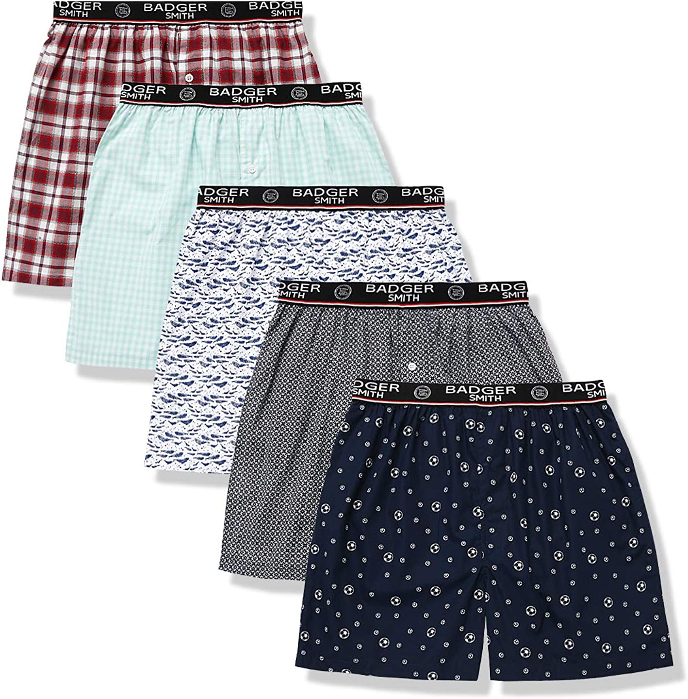 Pack 100/% Cotton Print and Plaid Multicolor Boxers Badger Smith Mens 5