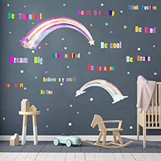 Easma Rainbows Wall Decals Girls Wall Decals Be Kind Inspirational Wall Quotes Vinyl Wall Stickers Positive Sayings Window Decor Kids Room Decoration Peel&Stick Decals