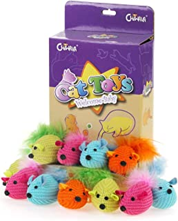 Chiwava 12PCS 4.3'' Soft Catnip Cat Toys Mice with Feather Knitted Stuffed Cotton Mouse Kitten Activity Play Assorted Color