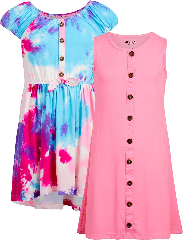 dELiAs Girls' Dress – Super Soft Tie Dye Rainbow Fashion Sundress (2 Pack)