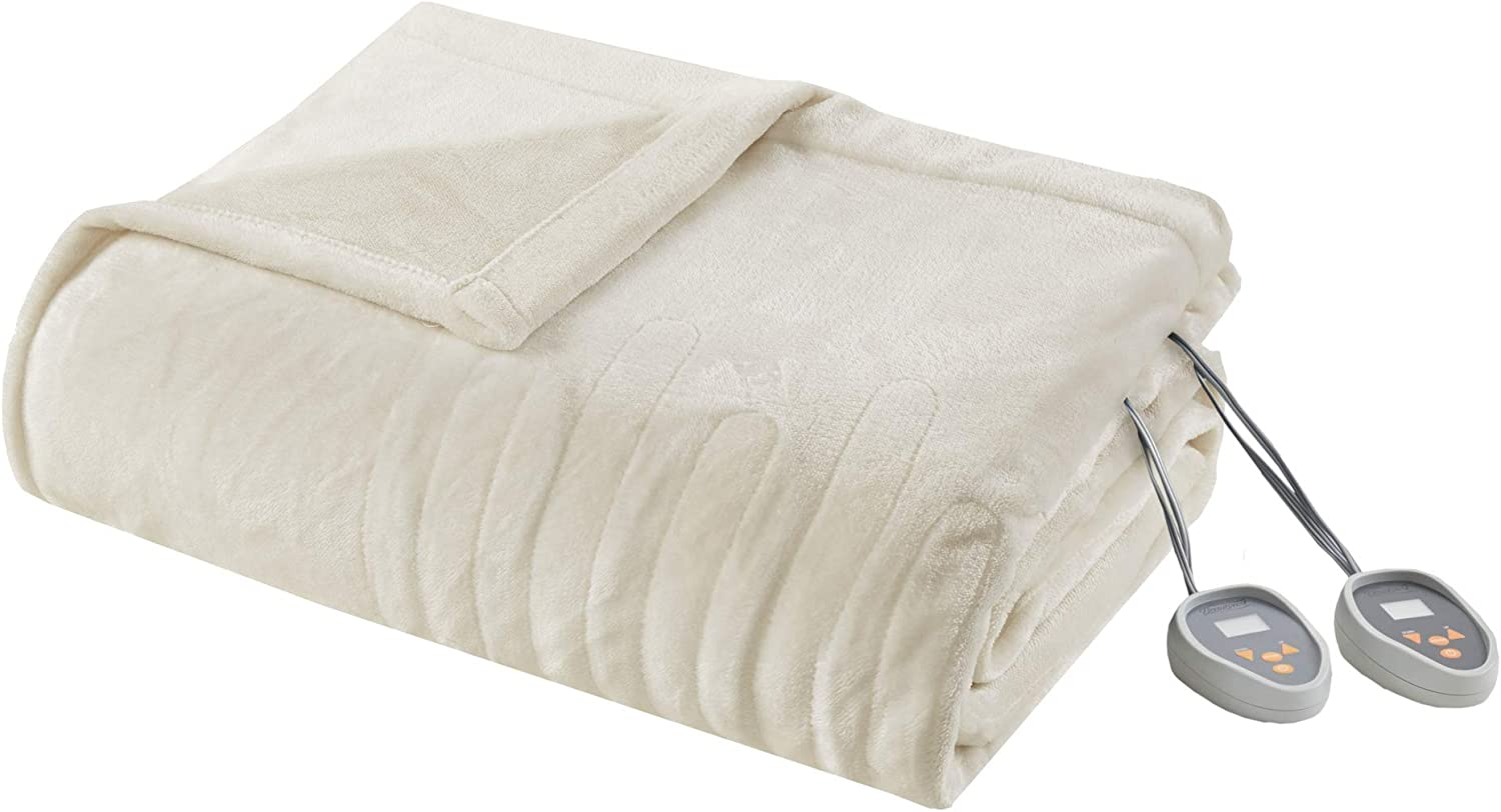Beautyrest Elect Electric Blanket with 20 Heat Level Setting Controller, Twin, Ivory