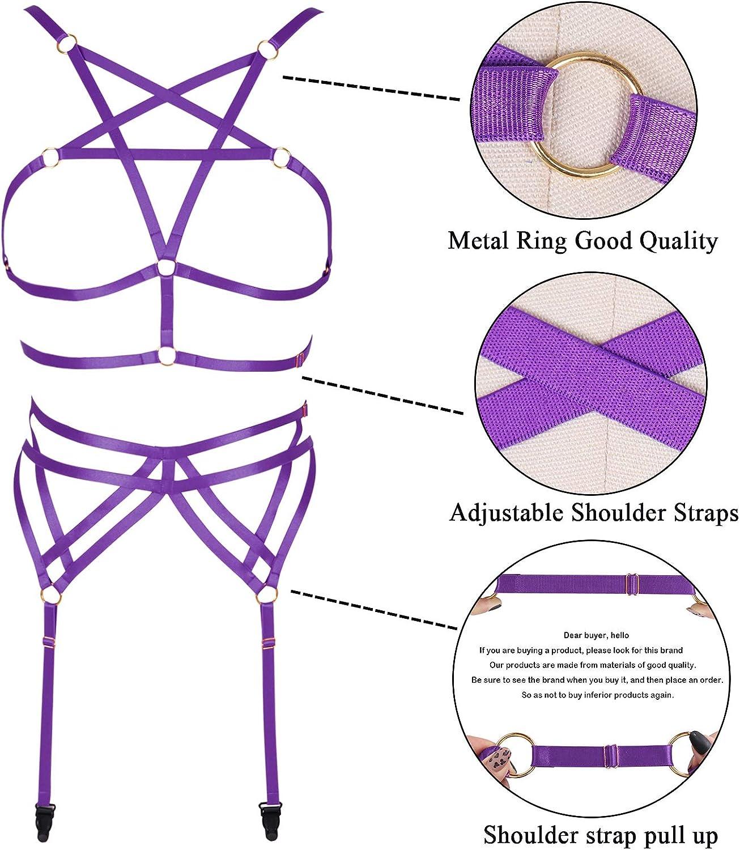 Full body harness bra Women's lingerie cage Gothic garter belt Festival rave Punk Plus size Pentagram Chest strap set