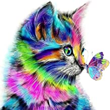 5D Full Drill Diamond Painting DIY Kit, Colorful Cat and Butterfly, Paint By Number Kits with Rhinestones Art Kits Craft C...