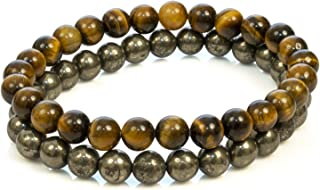 Divine Magic Natural Chakra Balancing Crystals for Luck and Money Pyrite Mens Bracelet and Tiger Eye Healing Bracelet for ...