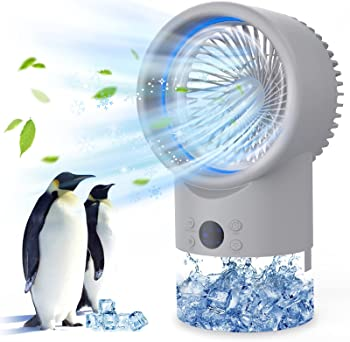 Tesecu Portable Air Conditioner Fan with 7 Colors LED Light