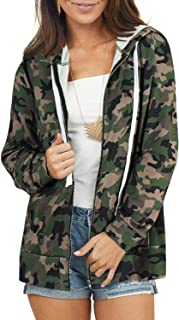 Women's Drawstring Zip Up Long Sleeve Pullover Sweatshirt Top with Pockets