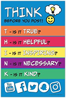 Think Poster - Think Before You Post - Bullying Prevention Poster - Kindness Elementary and Middle School Classroom Poster...
