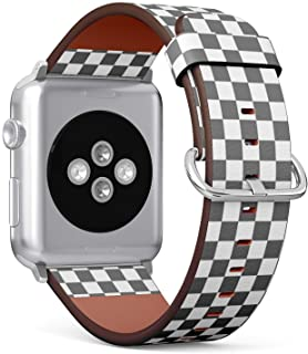 [ Compatible with Small Apple Watch 38mm / 40 mm ] Replacement Leather Band Bracelet Strap Wristband Accessory // Checkerboard Pattern Design