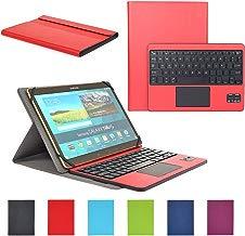 Teclado Bluetooth CoastaCloud Español Layout con Multi Touchpad - Funda compatible con9-10.6 Pulgadas Cualquier Windows / Android Tablet (Tamaño de la tableta adecuada:Min 15x24cm Max 18x26cm) Rojo