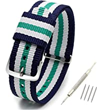 NATO Strap,Nylon Straps TASSE Watch Bands Watch Band - Choice of Color, Length & Width (16mm, 18mm, 20mm or 22mm) - Ballistic Nylon Straps