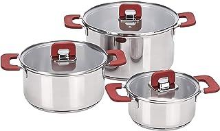 comprar comparacion AmazonBasics Juego de ollas de induccion de acero inoxidable, antiadherentes, 3 piezas